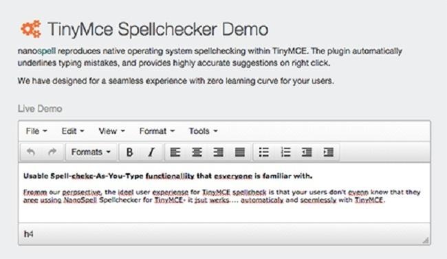 TinyMce Spellchecker Demo Screenshot 1