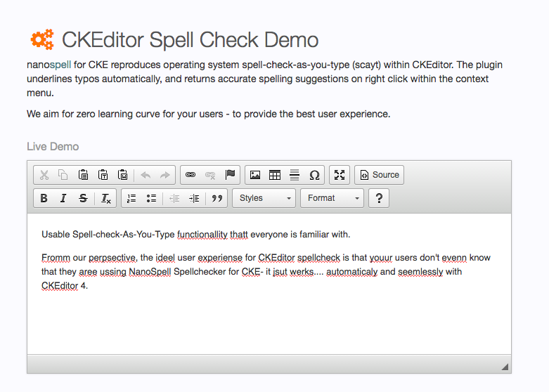Ckeditor Spell Check Demo Screenshot