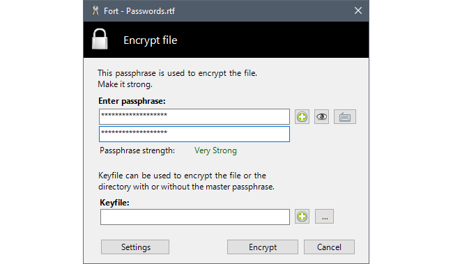 Fort - File encryption for Windows Screenshot