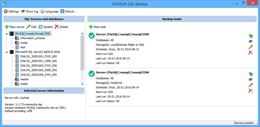 ADVSoft SQL Backup Screenshot
