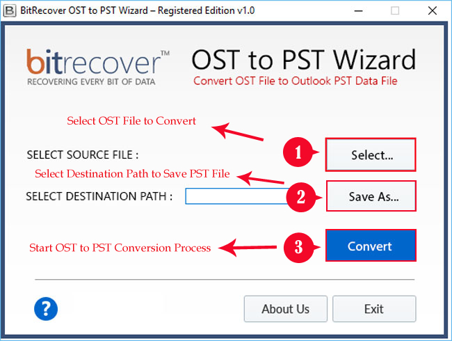 OST to PST Wizard Screenshot 1