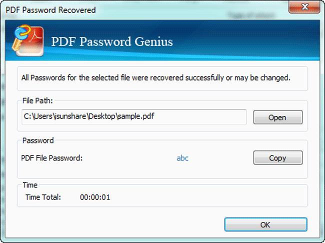 iSunshare PDF Password Genius Screenshot 2