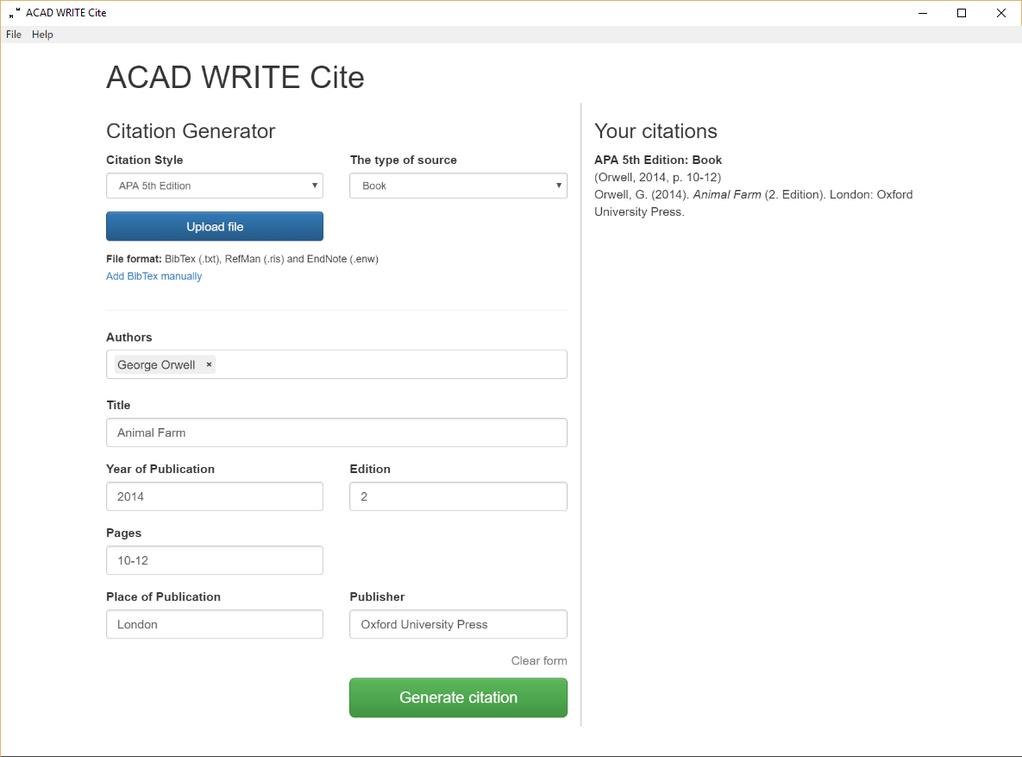 ACAD WRITE Cite Screenshot 1