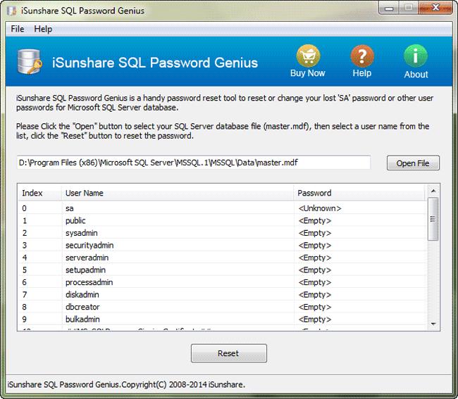 iSunshare SQL Password Genius Screenshot 2
