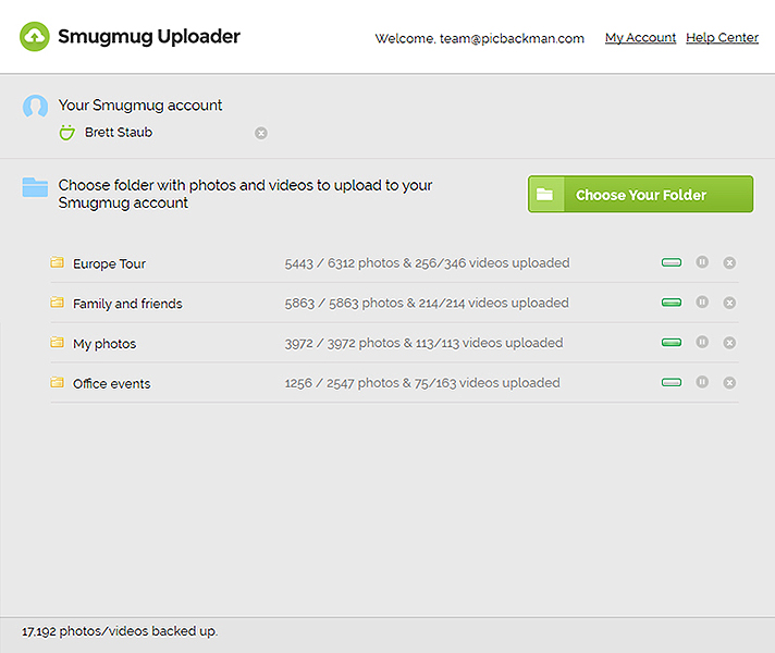 Smugmug Uploader Screenshot