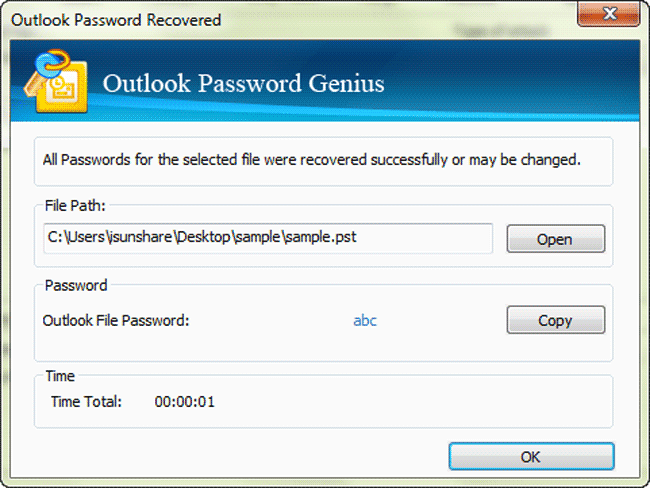 iSunshare Outlook Password Genius Screenshot 2