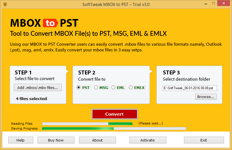 SoftTweak MBOX to PST Screenshot