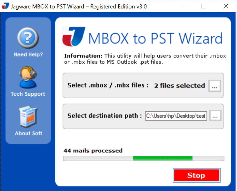 Jagware MBOX to PST Wizard Screenshot 2