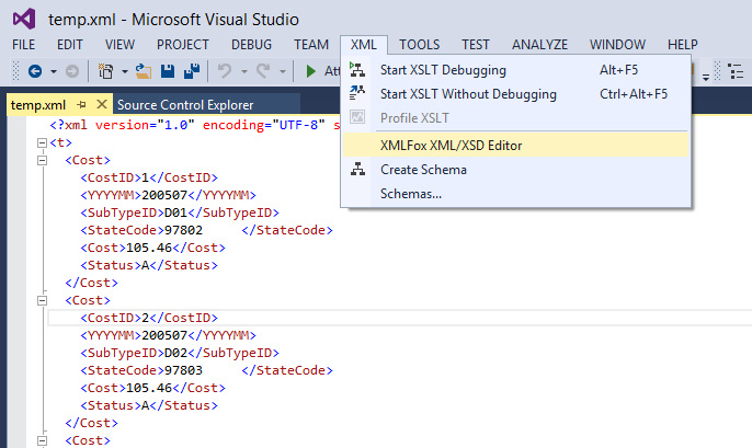 XMLFox Visual Studio XML Editor Screenshot