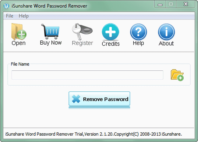iSunshare Word Password Remover Screenshot