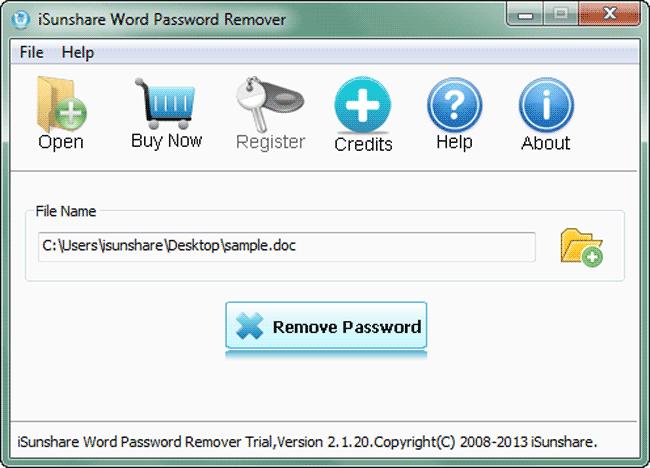 iSunshare Word Password Remover Screenshot 2