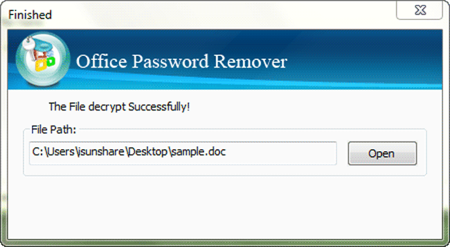 iSunshare Office Password Remover Screenshot 4