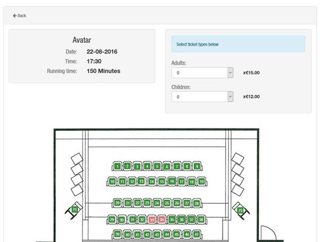 Cinema Booking System Screenshot 2