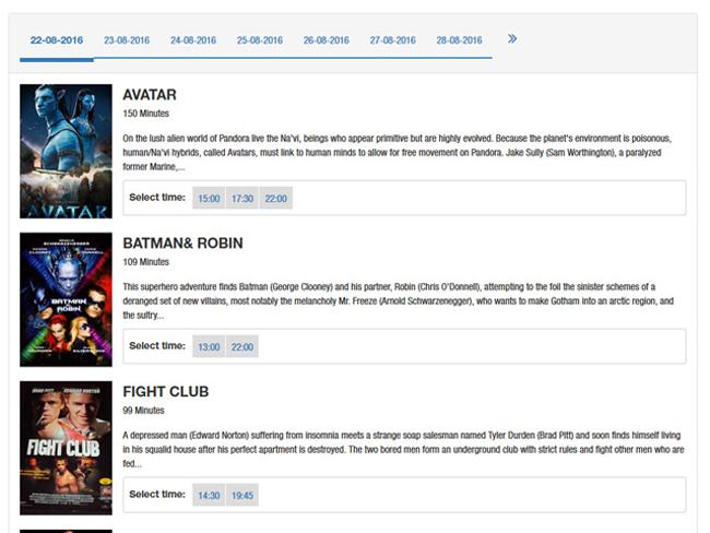 Cinema Booking System Screenshot 1