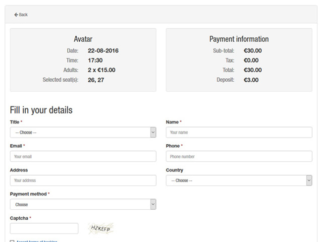 Cinema Booking System Screenshot 3
