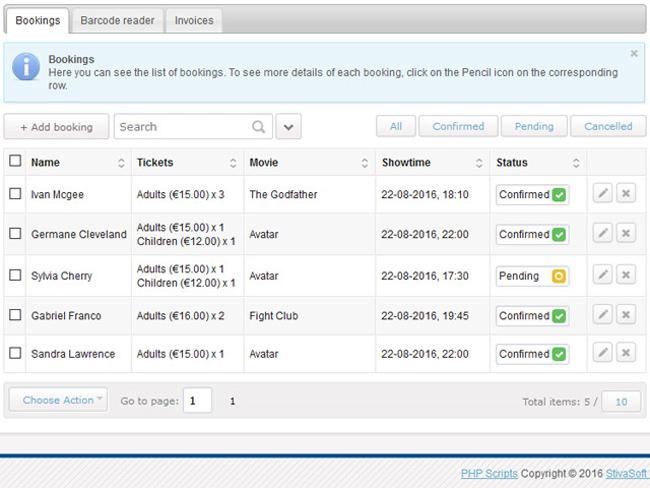 Cinema Booking System Screenshot 6