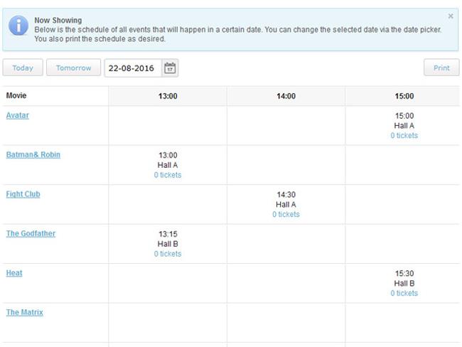 Cinema Booking System Screenshot 5
