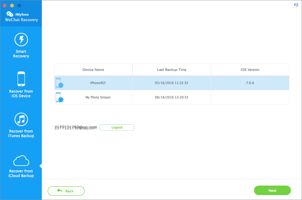 iMyFone iPhone Wechat Recovery for Mac Screenshot 1