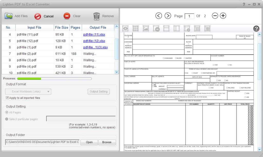 Lighten PDF to Excel Converter Screenshot 4