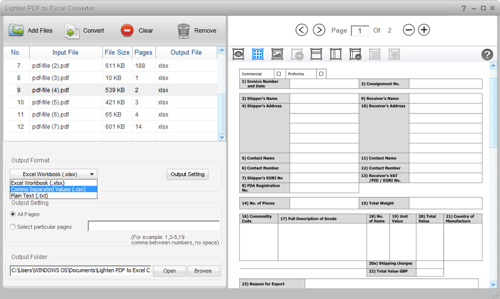 Lighten PDF to Excel Converter Screenshot
