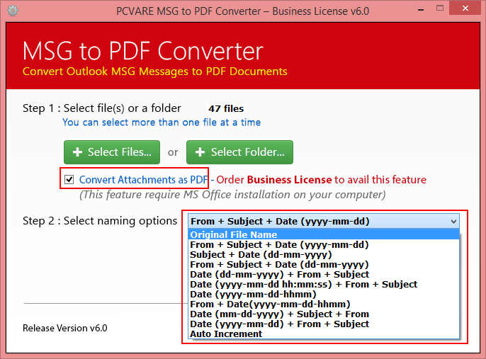 MSG to PDF Converter Screenshot 2