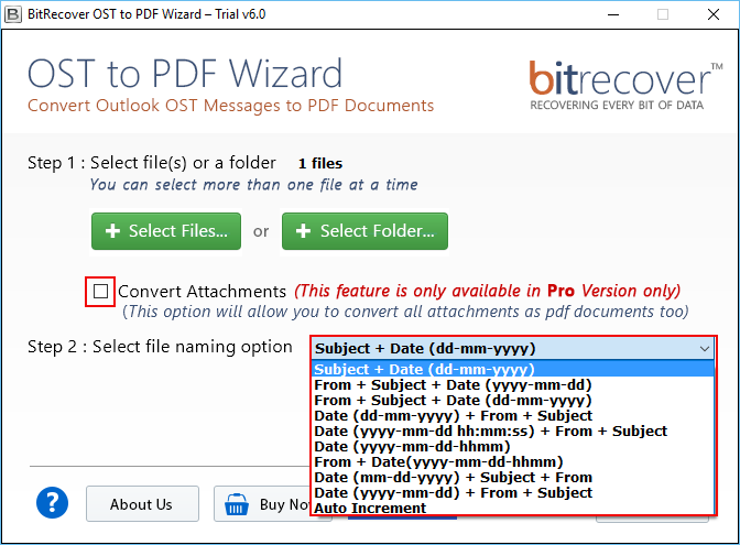 OST to PDF Wizard Screenshot 2