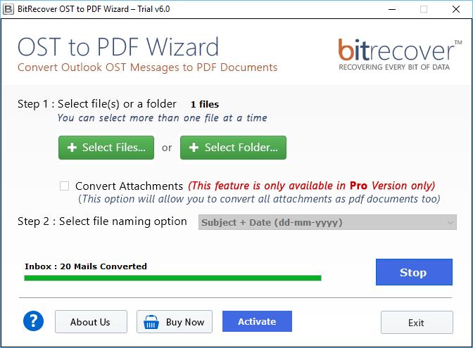 OST to PDF Wizard Screenshot 4