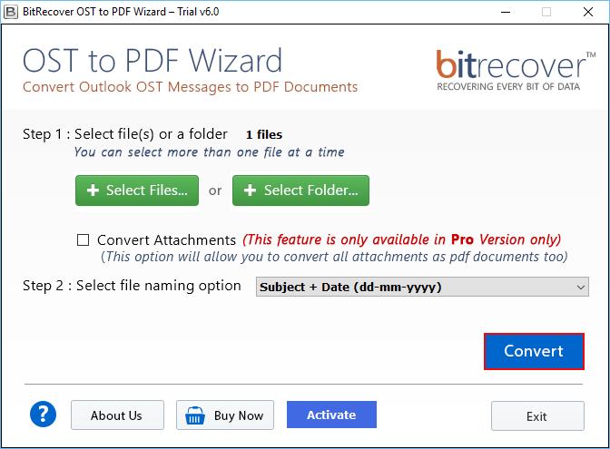 OST to PDF Wizard Screenshot 3