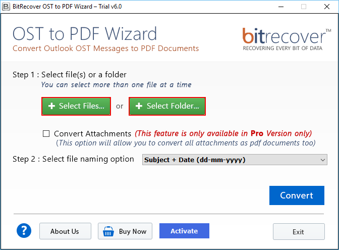 OST to PDF Wizard Screenshot