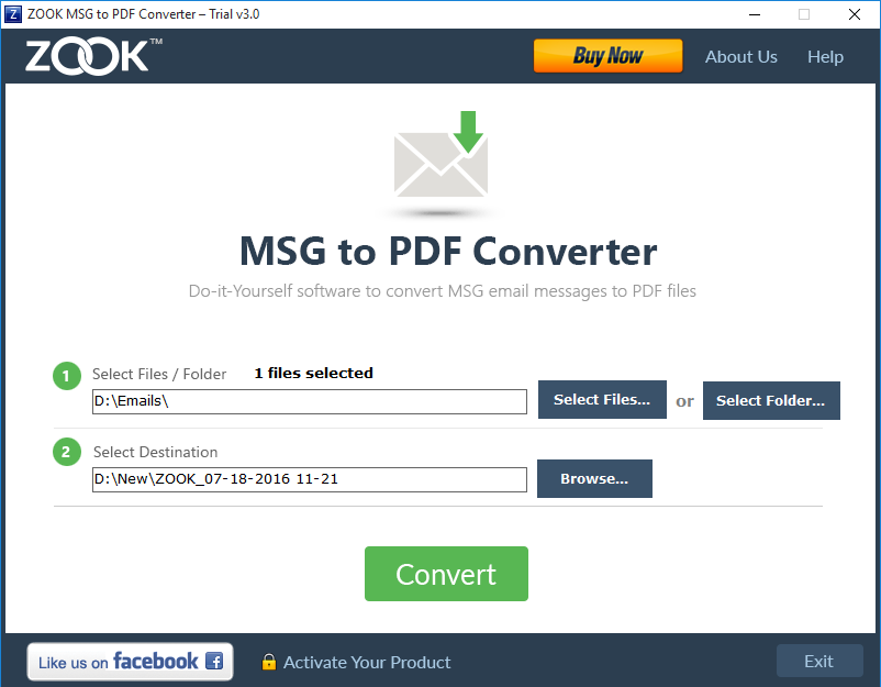 ZOOK MSG to PDF Converter Screenshot 2