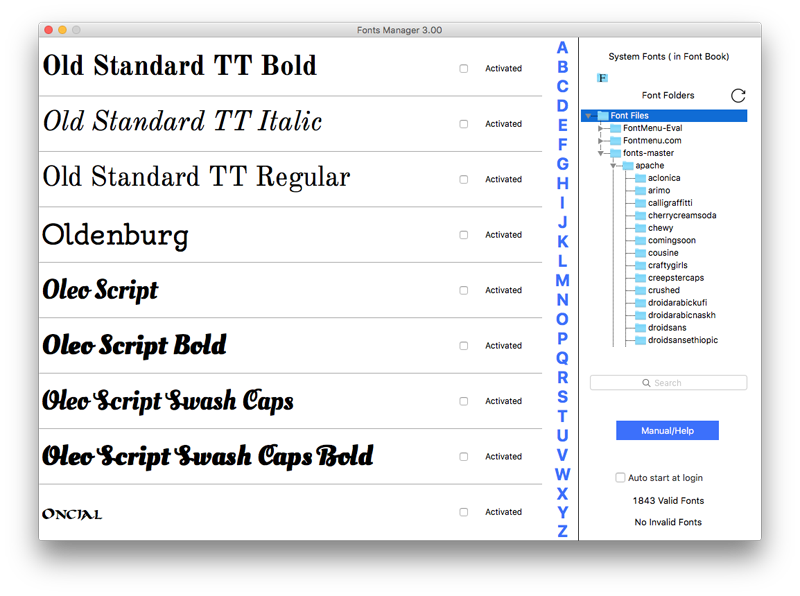 Fonts Manager Screenshot