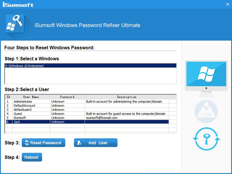 iSumsoft Windows Password Refixer Screenshot 3
