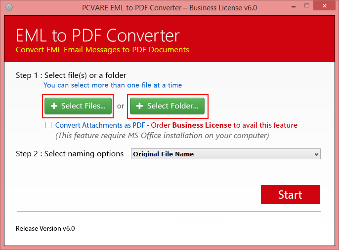 EML to PDF Converter Screenshot