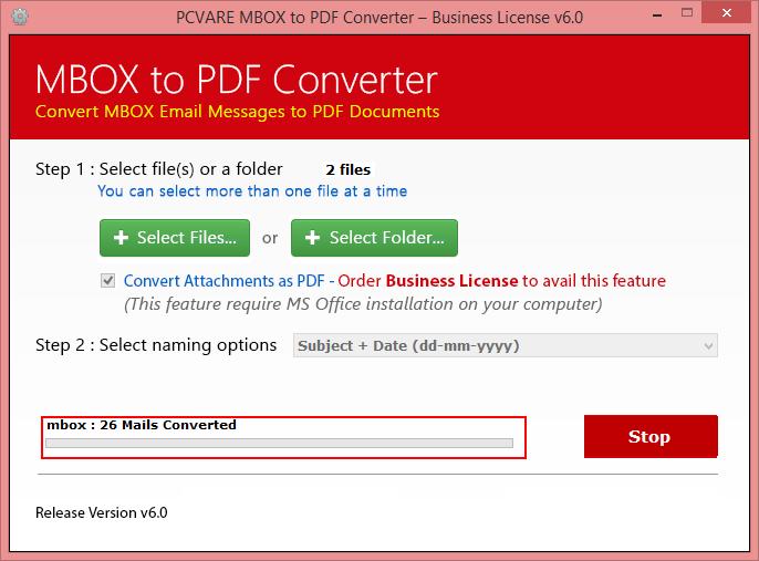 MBOX to PDF Converter Screenshot 2