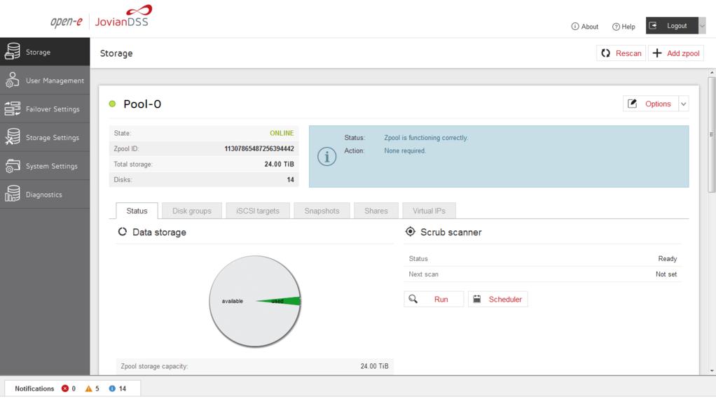 Open-E Jovian Data Storage Software (JovianDSS) Screenshot 2