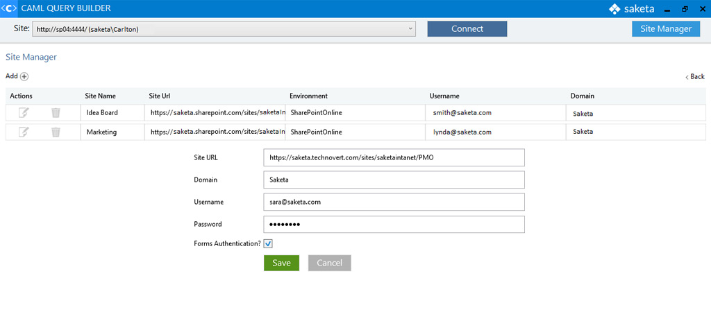 Saketa SharePoint CAML Query Builder Screenshot 2