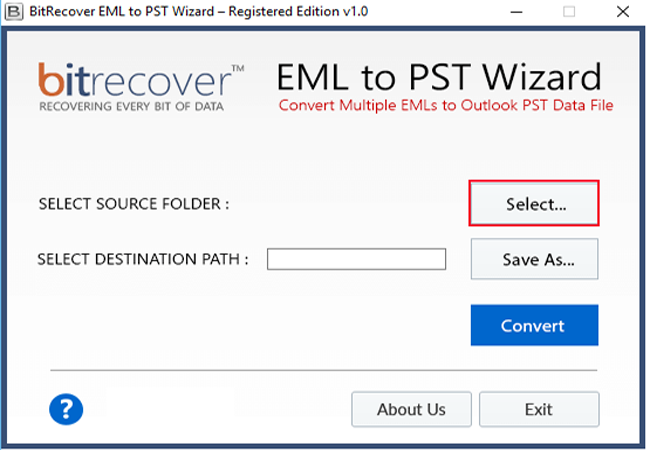 EML to PST Wizard Screenshot 1