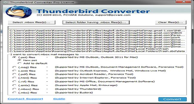 PCVARE Thunderbird Converter Screenshot