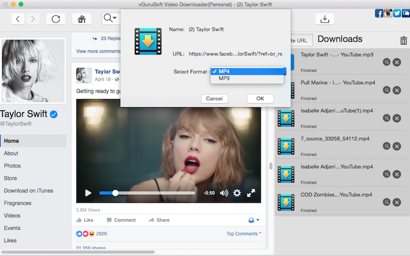 Mac Video Downloader vGuruSoft Screenshot
