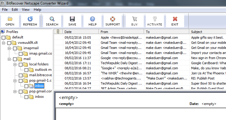 Netscape Converter Wizard Screenshot