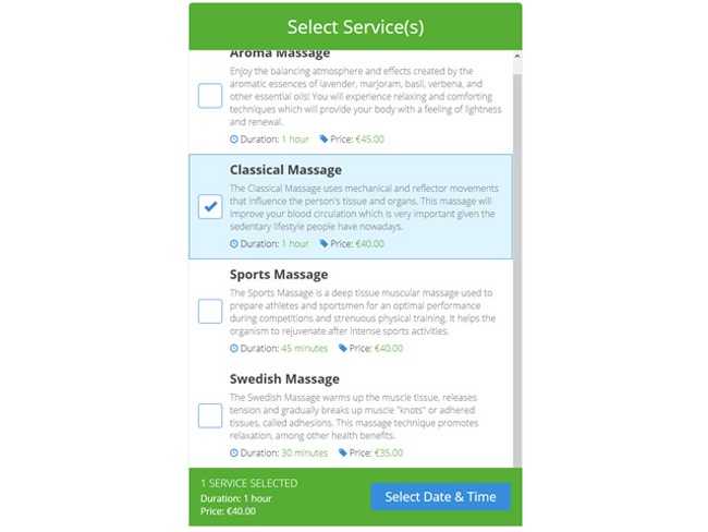 Service Booking Script Screenshot
