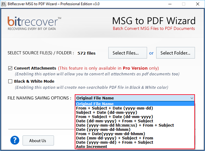 MSG to PDF Wizard Screenshot 3