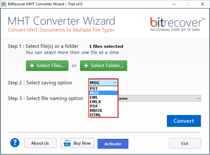 MHT Converter Wizard Screenshot 2