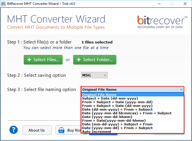 MHT Converter Wizard Screenshot 3
