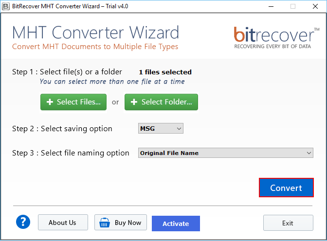 MHT Converter Wizard Screenshot 4