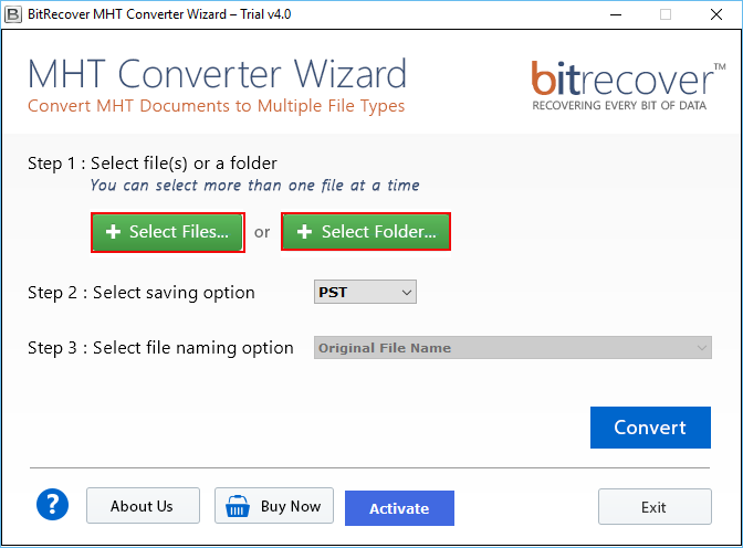 MHT Converter Wizard Screenshot 1