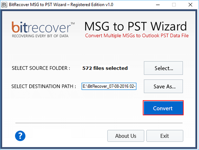 MSG to PST Wizard Screenshot 1