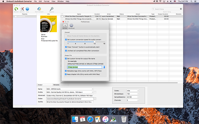 Ondesoft AudioBook Converter Screenshot 3
