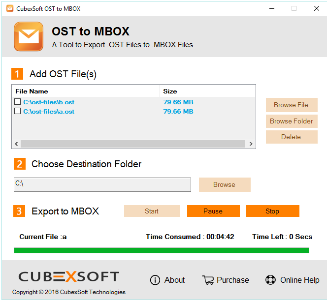 CubexSoft OST to MBOX Converter Screenshot