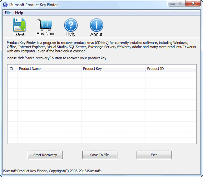 iSumsoft Product Key Finder Screenshot